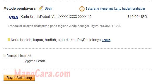 Membayar Tagihan VPS DigitalOcean Dengan PayPal