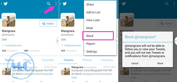 Cara Memblokir Teman Di Twitter Lewat Android dan PC