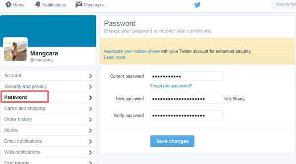 Mengubah Password Akun Twitter dari PC