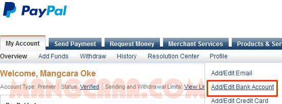 Paypal : Cara Menambahkan Rekening Bank Lokal (Mandiri)