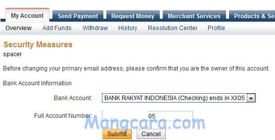 Mengganti Primary Email Paypal