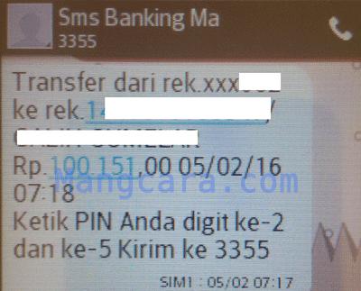 Transfer Sesama Bank Mandiri Via SMS Ketik