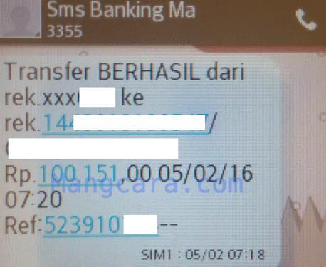 Cara Transfer Uang Lewat SMS Banking Mandiri