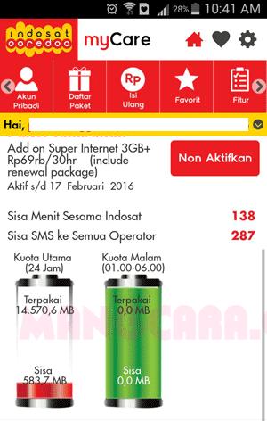 Cek Kuota Paket IM3 atau Mentari Dengan Aplikasi MyCare Indosat Ooredoo
