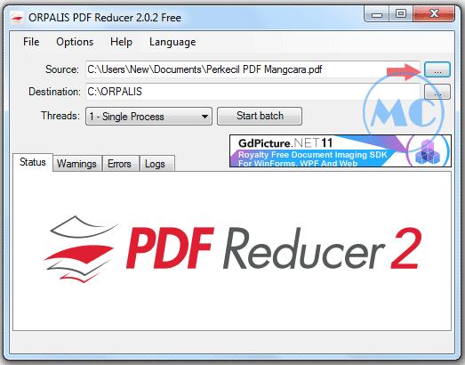 Cara 2 : Memperkecil PDF Dengan Orpalis PDF Reducer Free