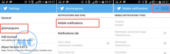 Stop Notifikasi SMS Twitetr di HP Android